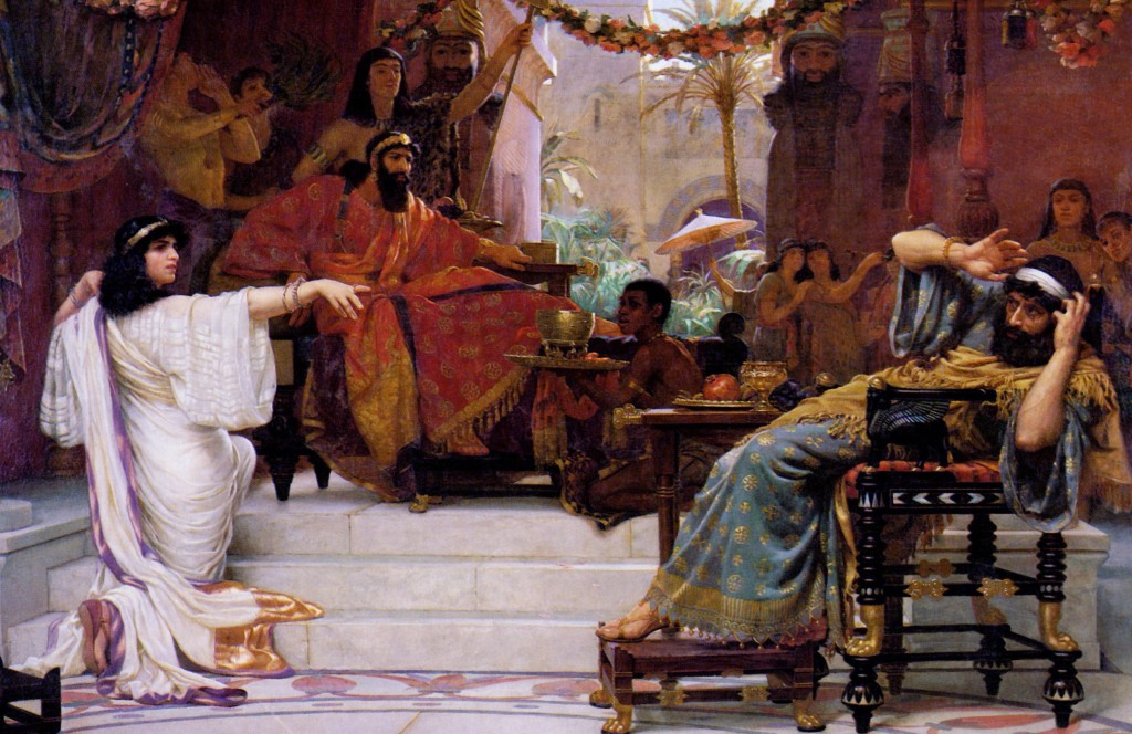 Esther Denouncing Haman, by British painter Ernest Normand