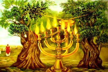 An artist's depiction of Zechariah's vision of the golden menorah in Zechariah 4.