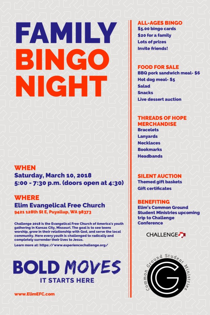 Family Bingo Night- Common Ground Fundraiser